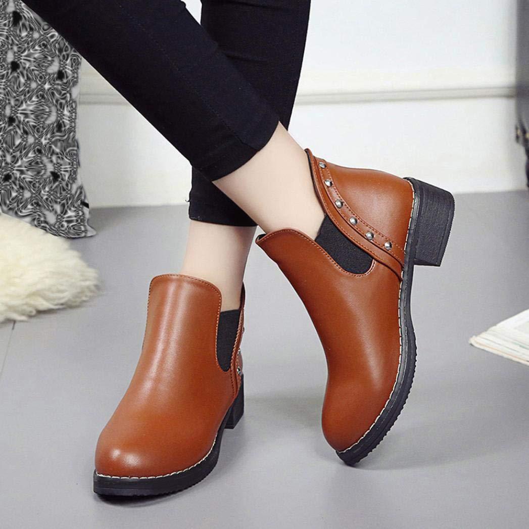 Zapatos planos de mujer remaches Casual Boots Botines de cuero con punta redonda Sonnena bota corta Casual