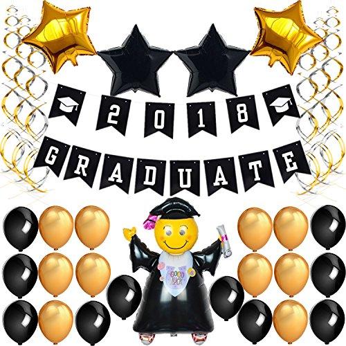 graduation party supplies 2018 20 black gold latex balloons