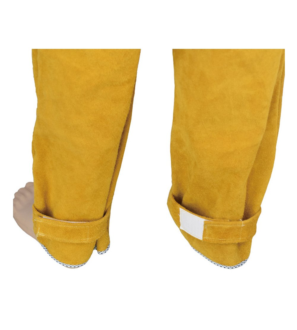 Welding Jacket and Trousers Heavy Duty Genuine Cowhide L Size Heat Flame-Resistant Welding Bib Apron Safety Apparel Long Coat Welding Suit HJ0002 by TUYU (Image #7)