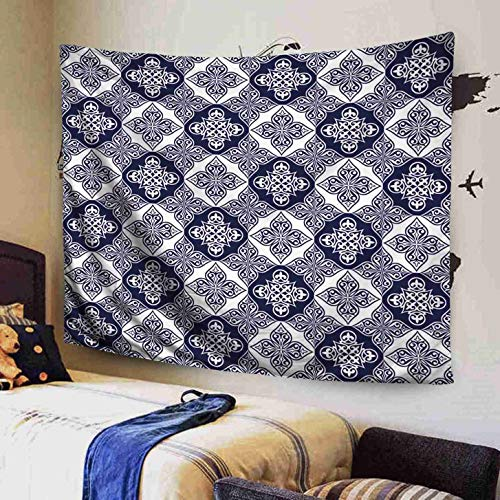 - GROOTEY Space Tapestry, Wall Art Décor Tapestry 80X60 Inches Gorgeous Pattern from Blue White Moroccan Tiles Ornaments Can Be Used Wallpaper Pattern Fills We Map Tapestries for Home Bedroom Dorm