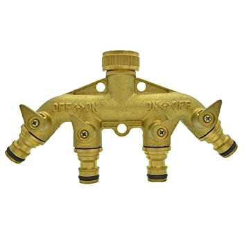 [BRASS BODY With BRASS SHUT OFF] Tech Traders 4 Way Brass Faucet Manifold