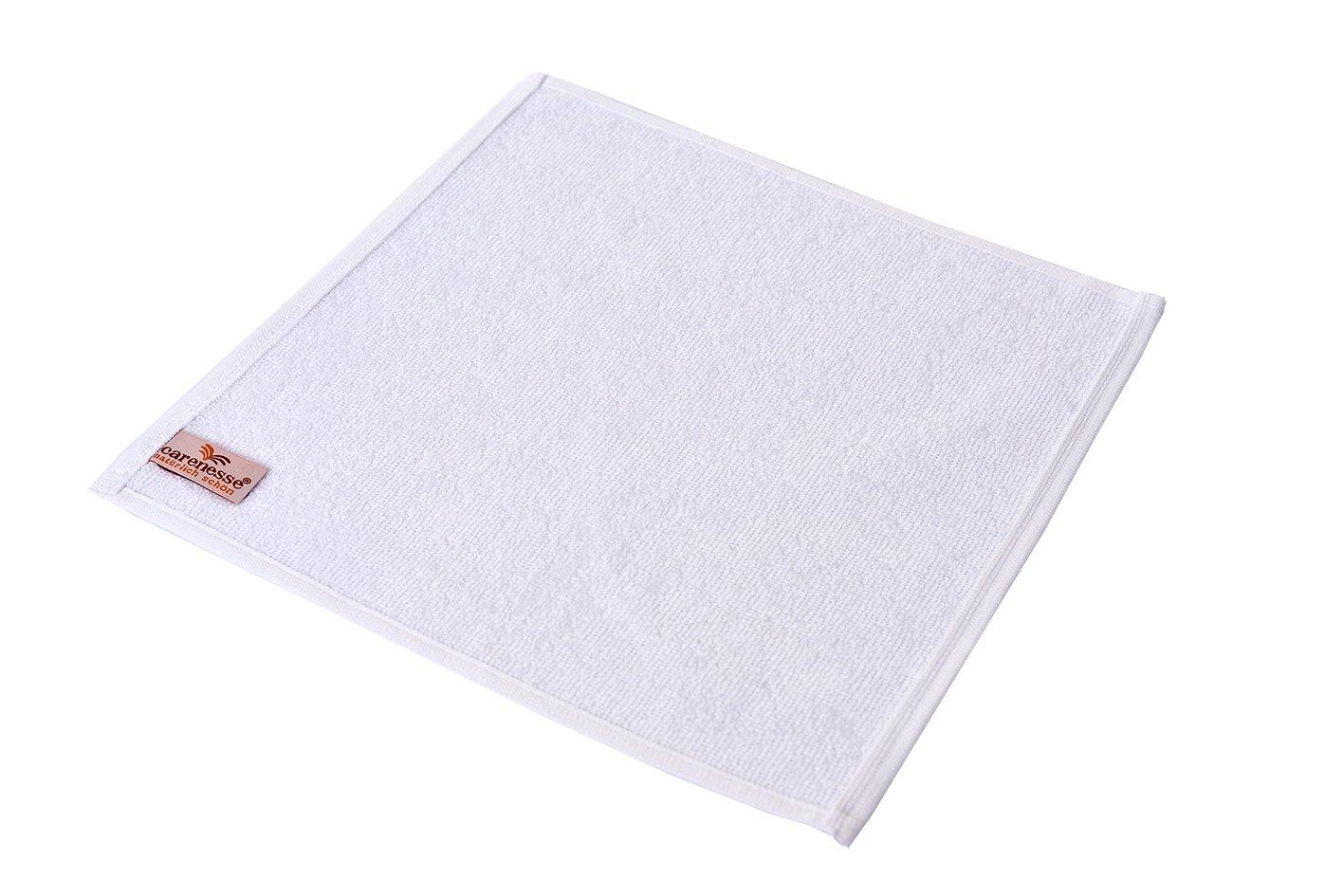 Carenesse Set Salvietta da 6, 30 x 30 cm, qualità premium, 100% cotone, bianco, guanto da bagno