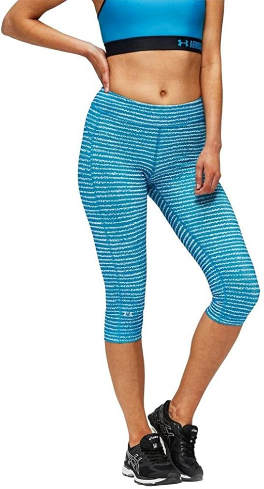 TALLA L. Under Armour UA HG Armour Printed Capri Leggings Piratas, Mujer