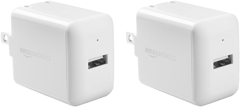 AmazonBasics One-Port USB Wall Charger (2.4 Amp) - White (2-Pack)