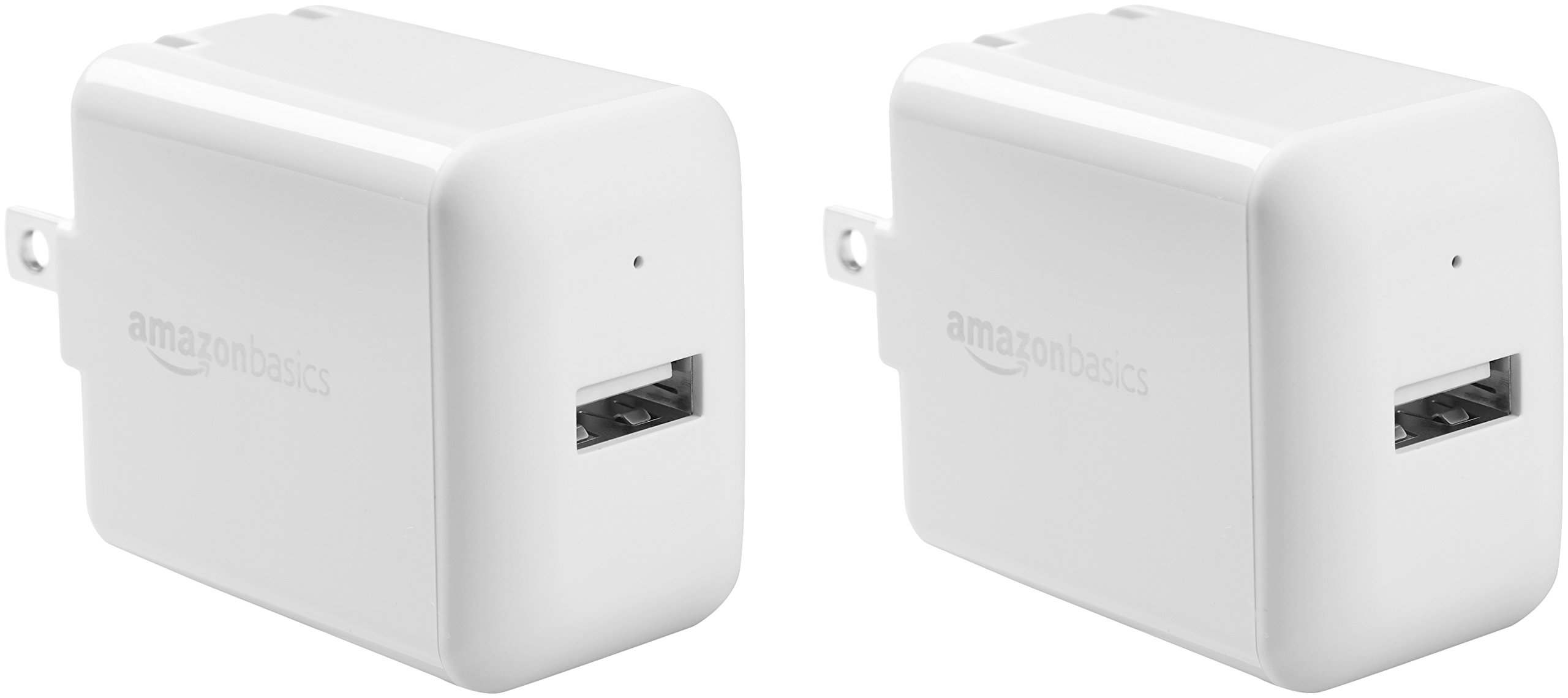 AmazonBasics One-Port USB Wall Charger for Phone, iPad, and Tablet, 2.4 Amp, White, 2 Pack by AmazonBasics