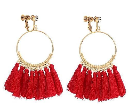 676a3f62ca27d Bohemia Long Dangle Rhinestone Clip on Earrings Tassel Thread for Women  Circle Drop Gold Hoop