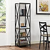 WE Furniture 61'' x-Frame Metal & Wood Media Bookshelf - Driftwood