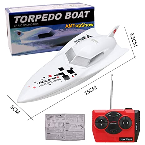 AMTopShow 27Mhz High Speed Remoto Radio Control Electric Racing Boat Toys  RC Boat Toys (White)