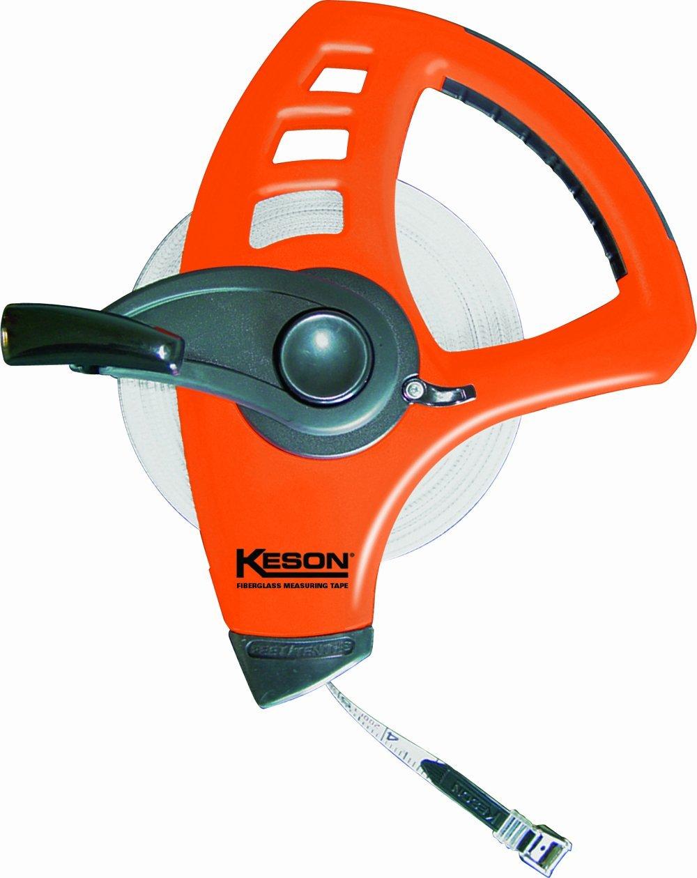 Keson FLT10200 Freewheeling Fiberglass Tape Measure (Graduations: 1/10, 1/100), 200-Foot