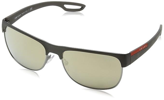 50d3a101c7 Prada Sport Occhiali da sole quadrati di gomma in gomma grigio blu rosso  specchio PS 57QS TFZ9Q1 58: Amazon.it: Abbigliamento