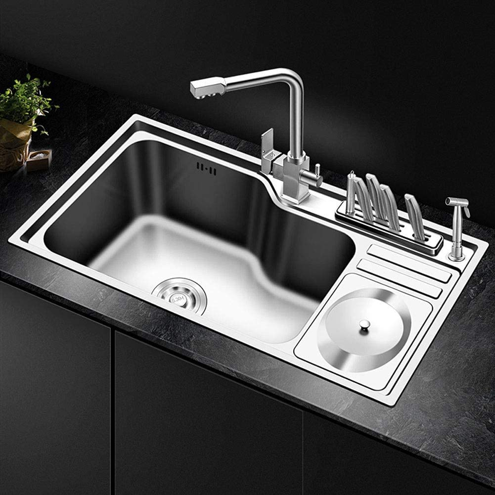 Amazon Com Single Bowl Kitchen Sink Topmount Stainless Steel Square Large Kitchen Sinks With Complete Plumbing Kit Drainer Waste With Dustbin Knife Holder Size 78x43x22cm Home Kitchen