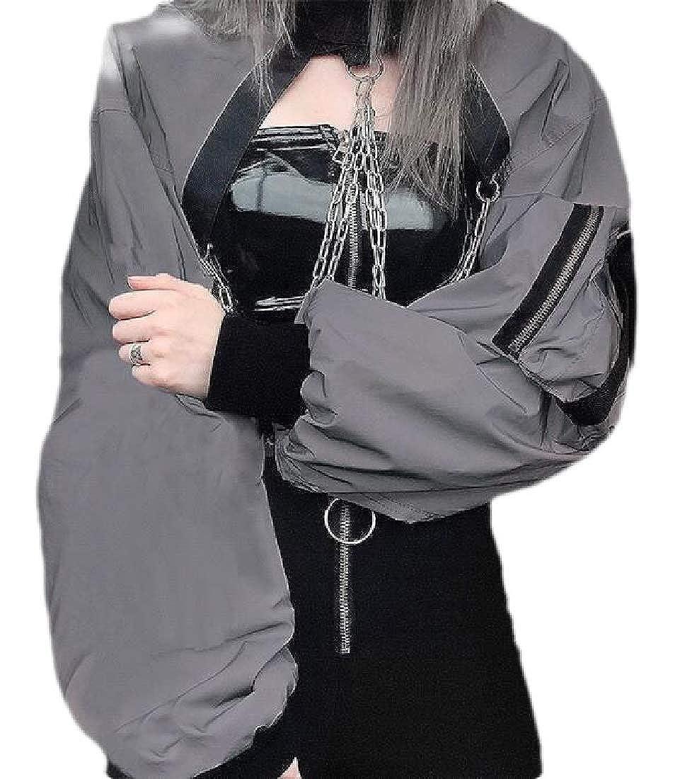 UUYUK Women Casual Loose Fit Long Sleeve Chains Punk Pullover Sweatshirt Crop Top Blouse