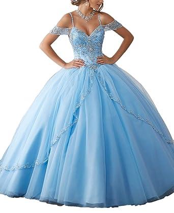 aff30d6a9 Women s Cap Sleeves Tulle Long Quinceanera Dress Cyrstal Beaded Sweet 16  Ball Gown Blue 2