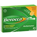 Berocca Mango & Orange 45 Effervescent Tablets 15-Count (Pack of 3)