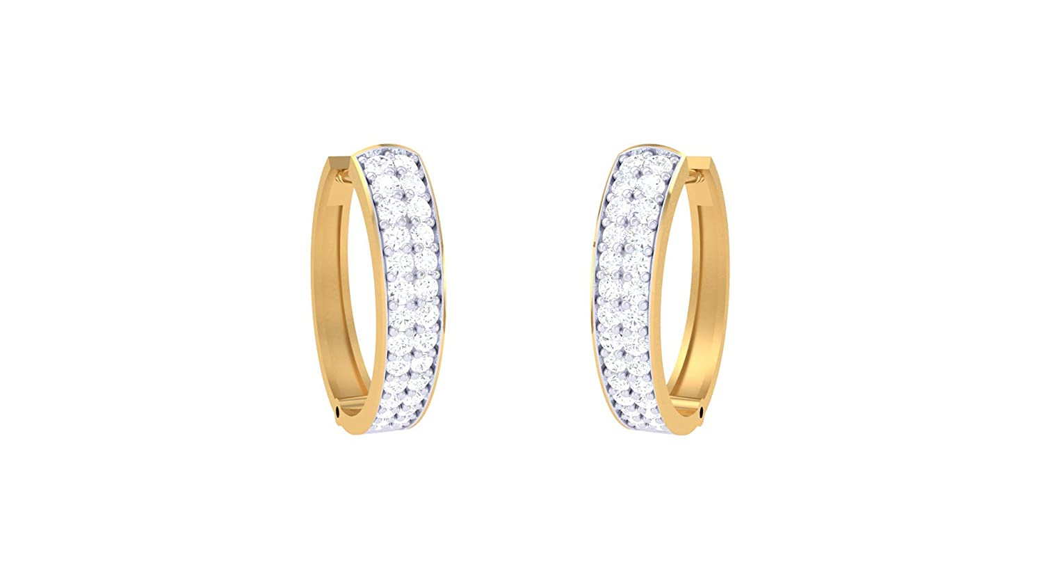 Jiana Jewels Rose Gold Plated Sterling Silver 0.34 Carat Lab Created Diamond Hoop Earrings For Women /& Girls I-J Color, SI2-I1 Clarity