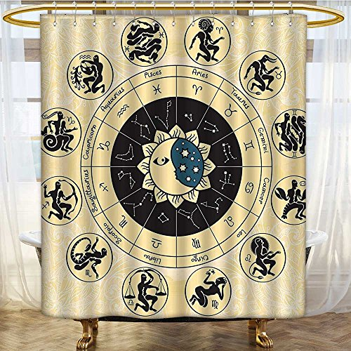 (AmaPark Waterproof Mold Resistant Polyester Shower Curtain Crescent and Stars Exquisite Cosmos Cosmic Design Home Hanging Ivory Black Machine Washable 69 x 72 inches)