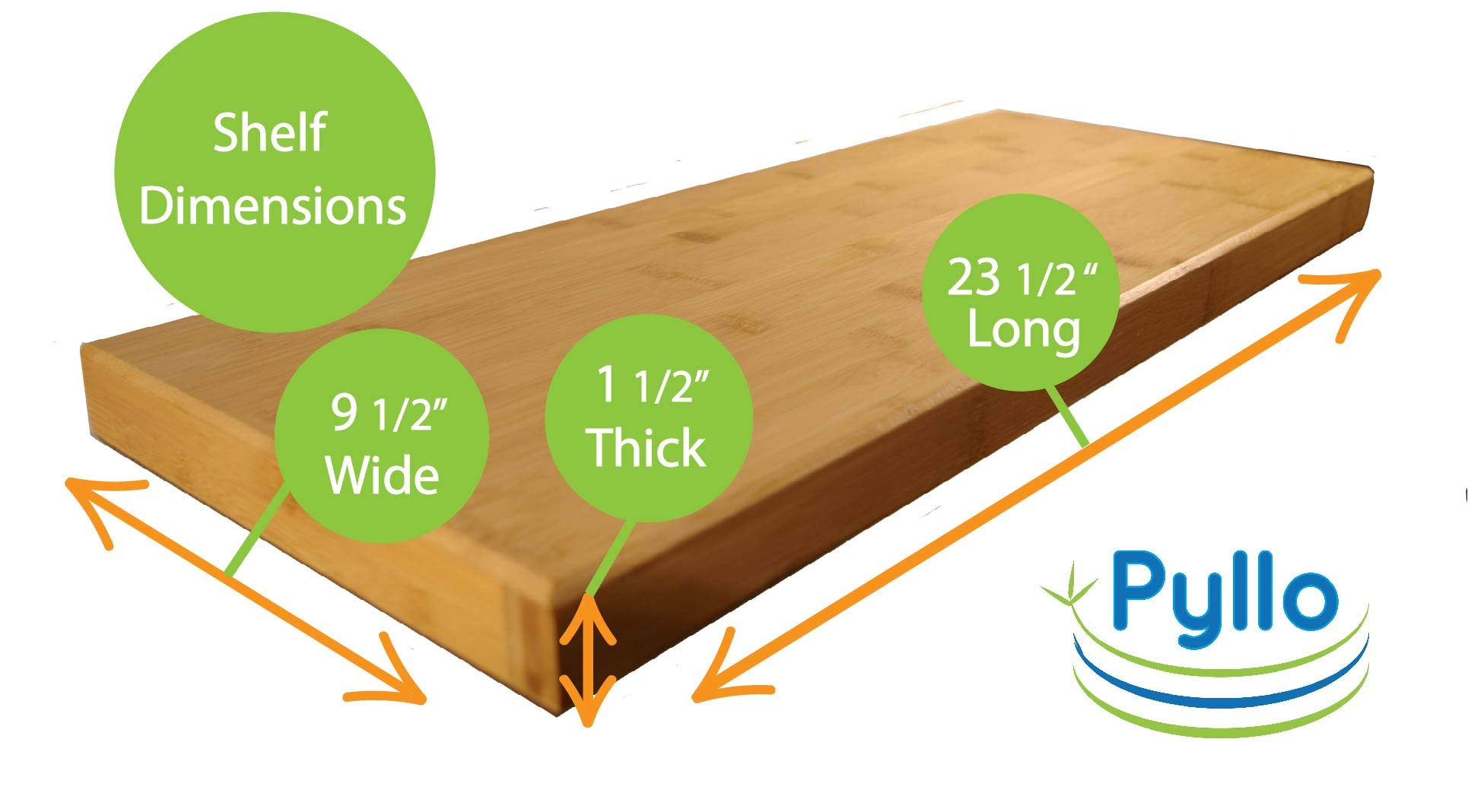 "Pyllo Bamboo Floating Shelf - Floating Wall Shelves with Hidden Bracket - Made from 100% Bamboo - 23 5/8"" X 9 1/4"" X 1 1/2"" - Easy Installation - PREMIUM QUALITY ECO-FRIENDLY BAMBOO SHELF - NO MDF (Particle Board) : Perfect For Office, Kitchen, Bedroom, Bathroom, Nursery, or Anywhere Around Your Home. EXTRA WIDE 9 1/2 Inches , Makes A Great Display Shelf For Books, Pictures, or Collectibles. The Durable Natural Carbonized Finish is Easy to Clean and Will Last For Years. EASILY HOLDS UP TO 25 POUNDS - With Our Wall Mounted Shelves, Only One Single Hidden Bracket Is Needed, Which Makes For EASY INSTALLATION! No Exposed Shelf Brackets To Get In Your Way. Hidden Mounting Bracket Gives a Floating Shelf Appearance... EASY TO FOLLOW INSTRUCTIONS, with Drywall Anchors, That Require NO DRILLING and Screws Included. BAMBOO IS NATURALLY ANTIBACTERIAL, ANTIMICROBIAL and WATER RESISTANT, which makes them Perfect for Bathrooms and Nurseries. These Floating Wall Shelves are not only Beautiful, but Durable as well. Bamboo will hold up to dings and spills. Our Bamboo comes from sustainable forests. - wall-shelves, living-room-furniture, living-room - 61v7BlLMBqL -"