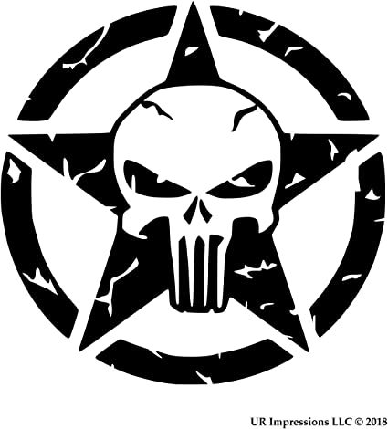 "two 6/"" Custom Vinyl Distressed PUNISHER Willys Jeep Star Window Decal Sticker"