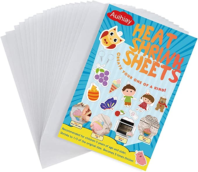Warckon 36 Pieces Shrink Plastic Sheets Shrink Art Paper Shrink Film Sheets Frosted Ruff n Ready for Kids Creative Craft Earrings Necklace Create Your Own Shinky Dinks A5 Size Keychains
