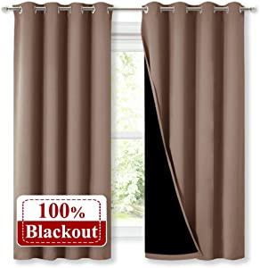 NICETOWN Total Blackout Panels for Nursery, Super Soft, Heavy Duty and Thick Window Treatment Curtains 63 inches Long with Black Lined for Basement, (1 Pair, Taupe, 52 inches Wide Each Panel)