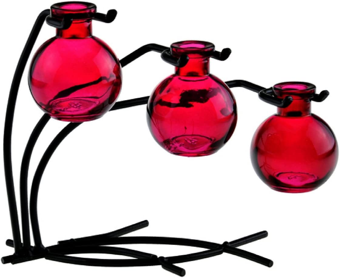 Romantic Decor and More Colorful Glass Floral, Bud or Rooting 3 Ball Vase Set with Stand – G109F Red Vase Use as Flower, Bud, Plant Starter Vase.