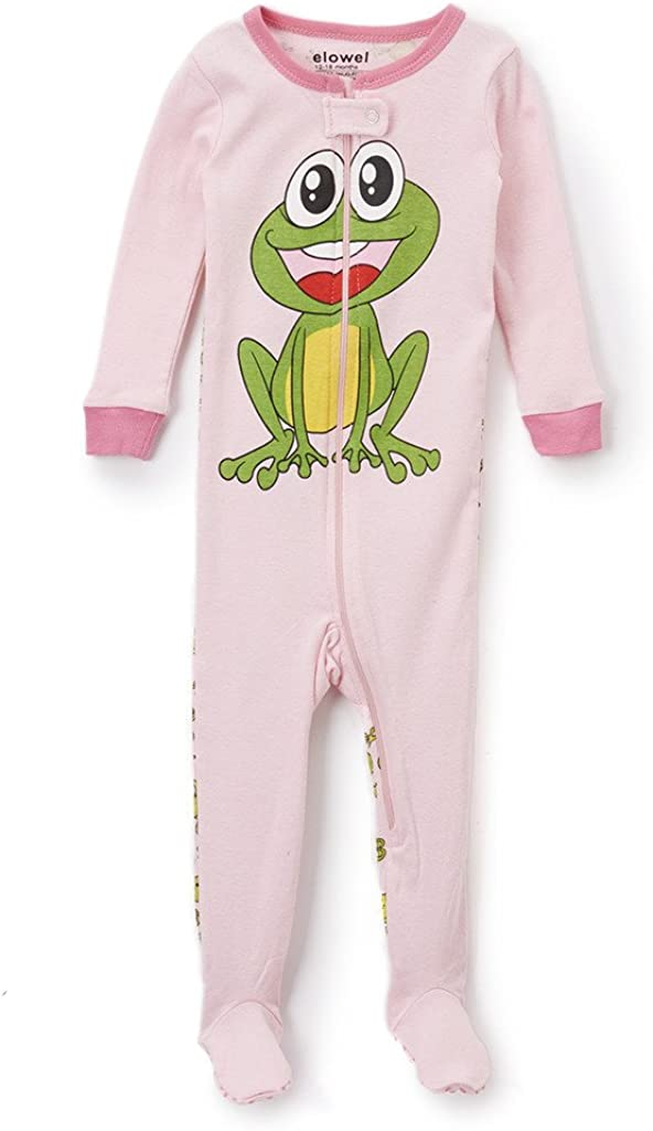 6M-5Y Elowel Baby Girls Footed Frog Pajama Sleeper 100/% Cotton