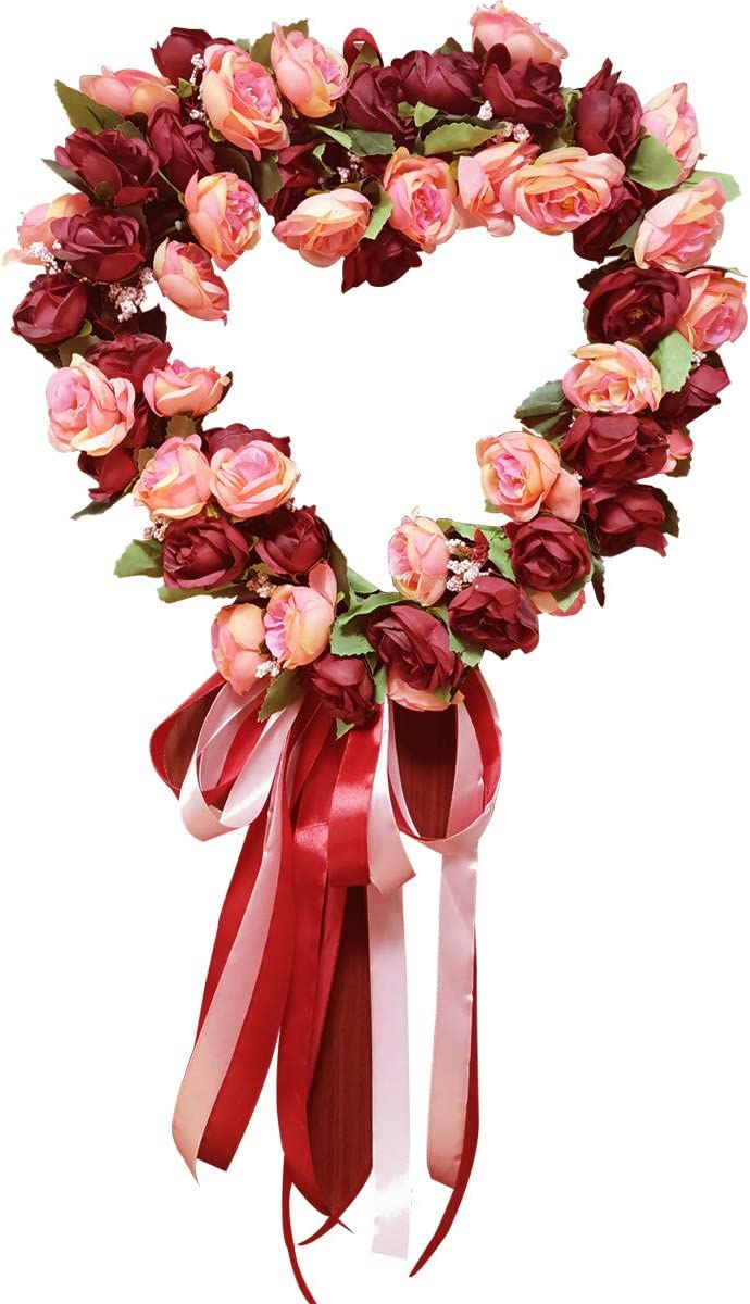 "SISJULY Heart-Shaped Flower Wreath Artificial Burgundy Peony Wreath Handmade 14"" Floral Hanging Wreath Summer Garland for Front Door Wall Wedding Party Office Home Decor with Ribbon"
