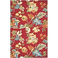 Safavieh Blossom Collection BLM672A Handmade Red and Multi Premium Wool Area Rug (5 x 8)