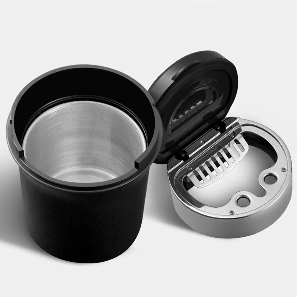 Asdomo Car Ashtray Easy Clean Up Detachable Stainless Car Ashtray with Lid Blue Led Light for Most Car Cup Holder