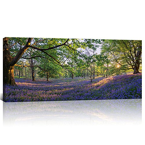 KLVOS - Large Nature Landscape Tree Forest Wall Art Gallery Wrapped Purple Lavender Flowers Picture Canvas Prints Home Wall Decoration (20