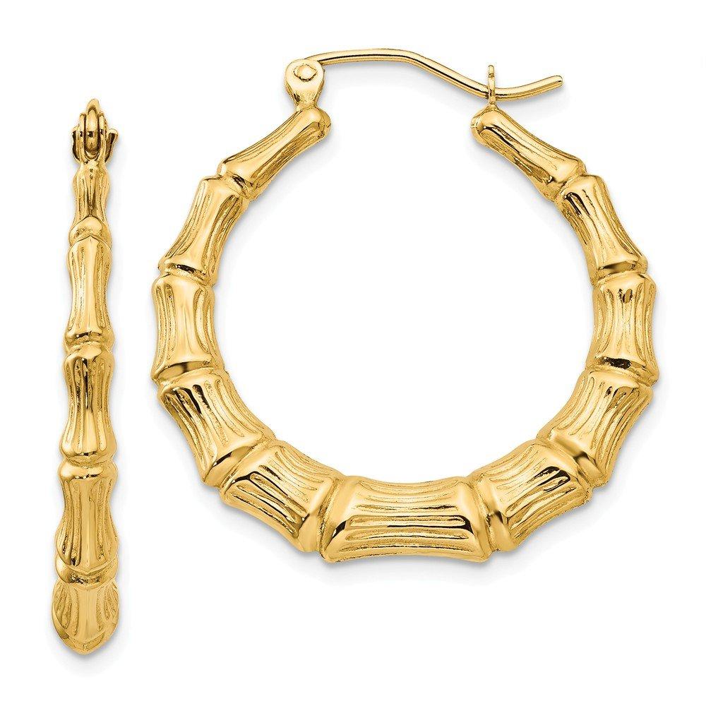 Mia Diamonds 14k Yellow Gold Polished Bamboo Hoop Earrings
