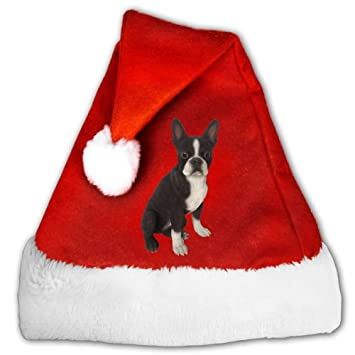eae03fb0c83 Image Unavailable. Image not available for. Color  Cute Lovely Sitting  Black Boston Terrier Funny Fashion Print Plush Santa Christmas Hat