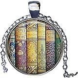 Libreria shabby libri, libro ciondolo, ciondolo, libraio Ciondolo Collana Vintage Gioielli Regalo degli insegnanti