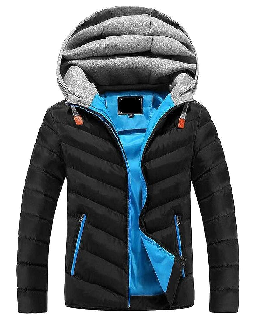 GenericMen Down Jacket Hoodie Front Zip Winter Outdoor Casual Jacket