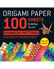 """Origami Paper - Rainbow Patterns - 6"""" Size - 100 Sheets: Tuttle Origami Paper: High-Quality Double-Sided Origami Sheets Printed with 8 Different Patterns (Instructions for 7 Projects Included)"""