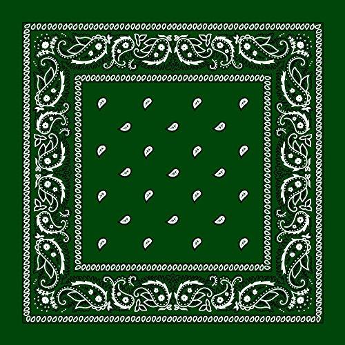 Hunter Green Paisley Bandana - Single Piece 22x22 -