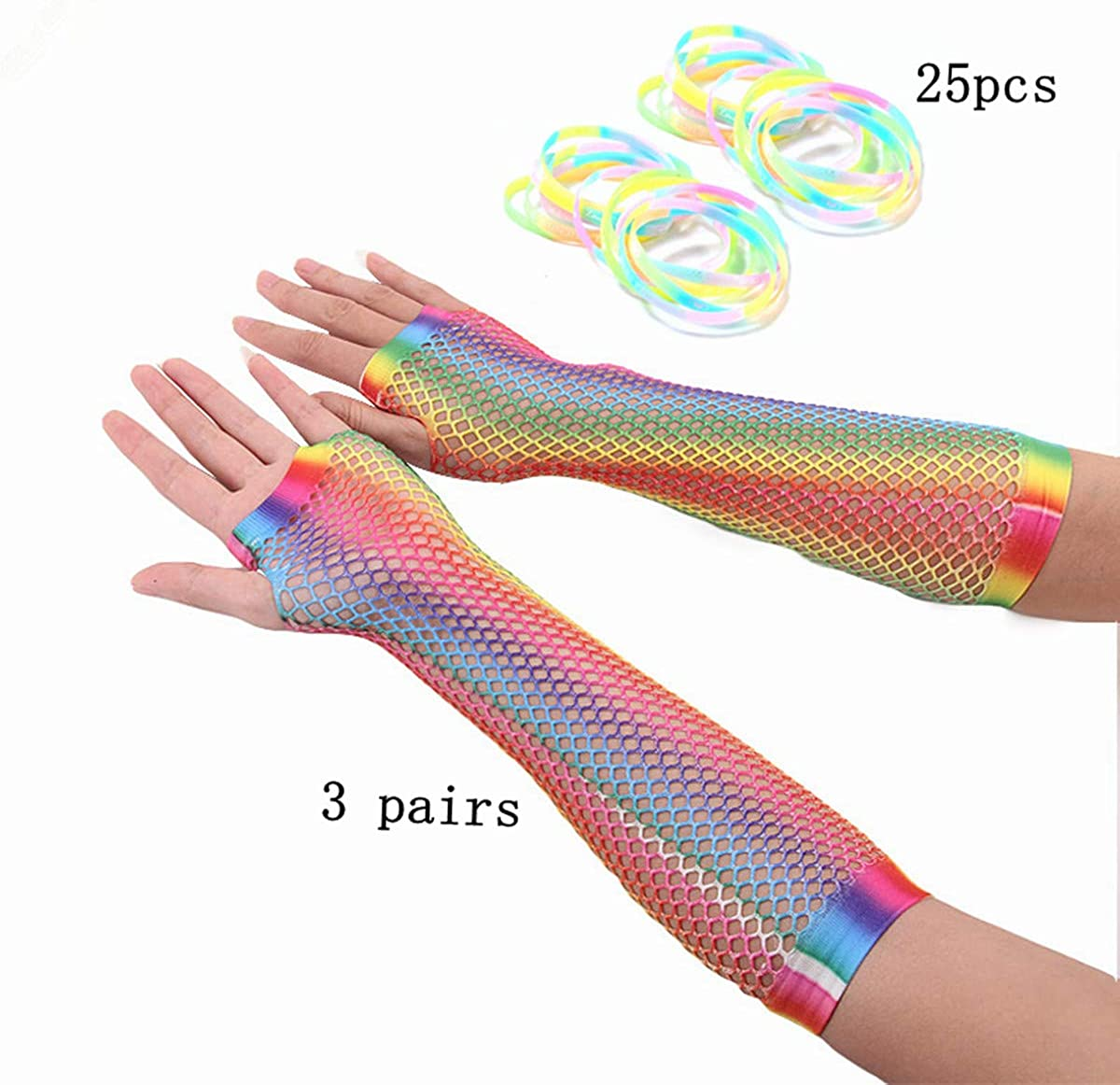 Neon Pink Long Neon Fishnet Fingerless Wrist Gloves Party Accessory