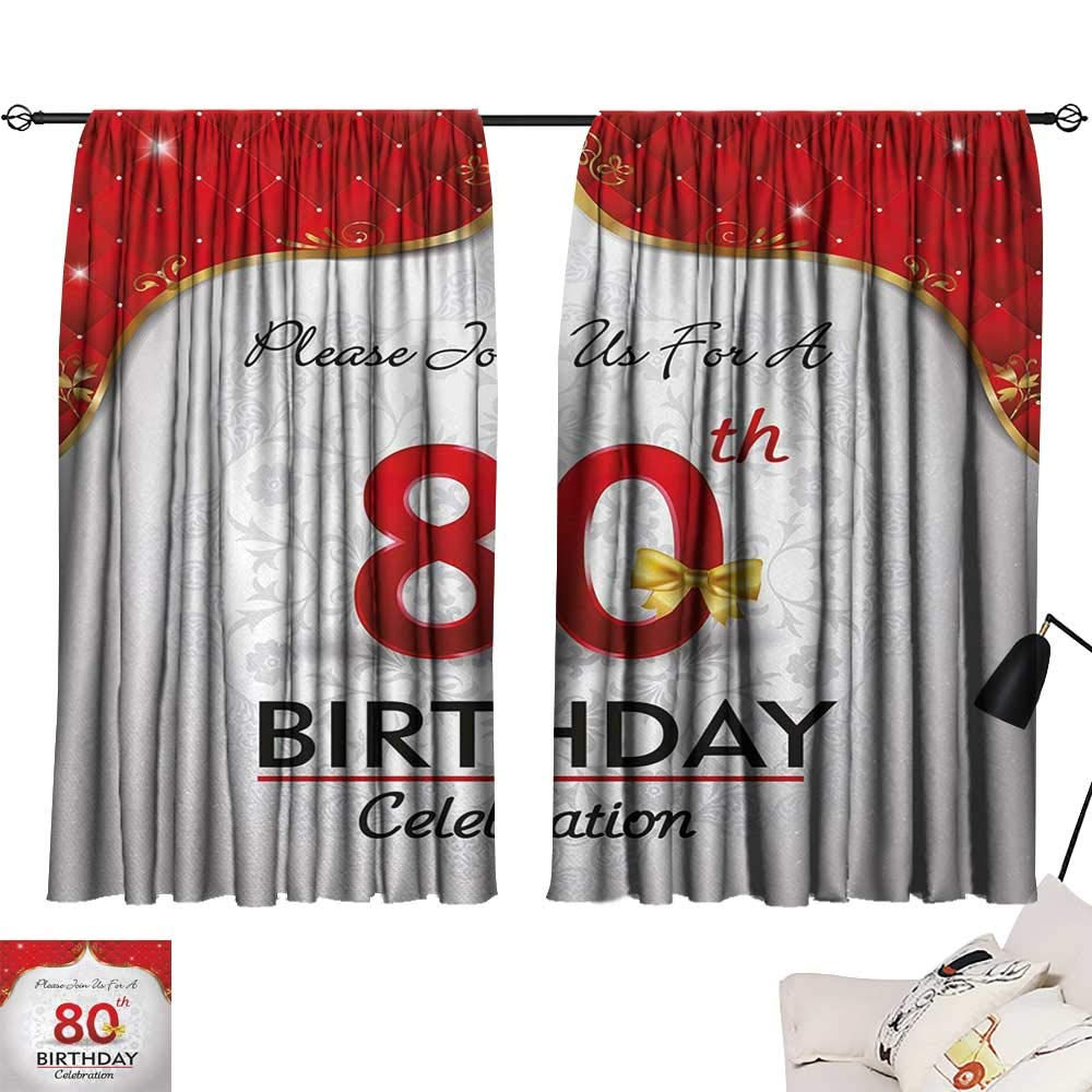 Jinguizi 80th Birthday Curtain Kids Birthday Party Invitation with Abstract Floral Backdrop Elderly Light Darkening Curtains Red Silver and Golden W55 x L39 by Jinguizi (Image #1)