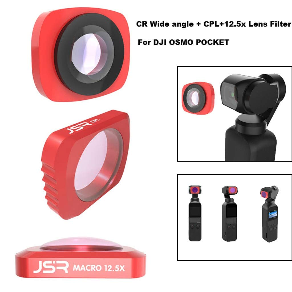 Camera Filter For DJI OSMO Pocket 3 in1 CR Wide Angle + 12.5X + CPL PTZ Camera 3pc Lens Filters Aluminum-alloy Helicopter Accessories (red) by lkoezi- Camera Filter (Image #3)