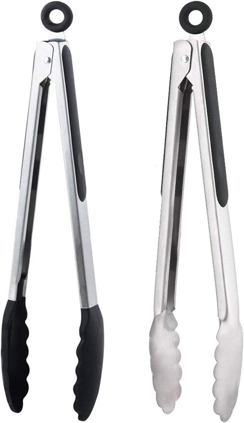 Serving Tongs Silicone Stainless Steel Handle Grill BBQ Kitchen Cooking Salad UK