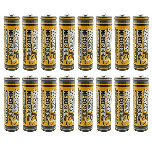 (16-Pack) HyperPS 1.2V AA 700mAh Ni-Cd NiCd Rechargeable Battery for NiCd Solar Panel Light Lamp, RC ()