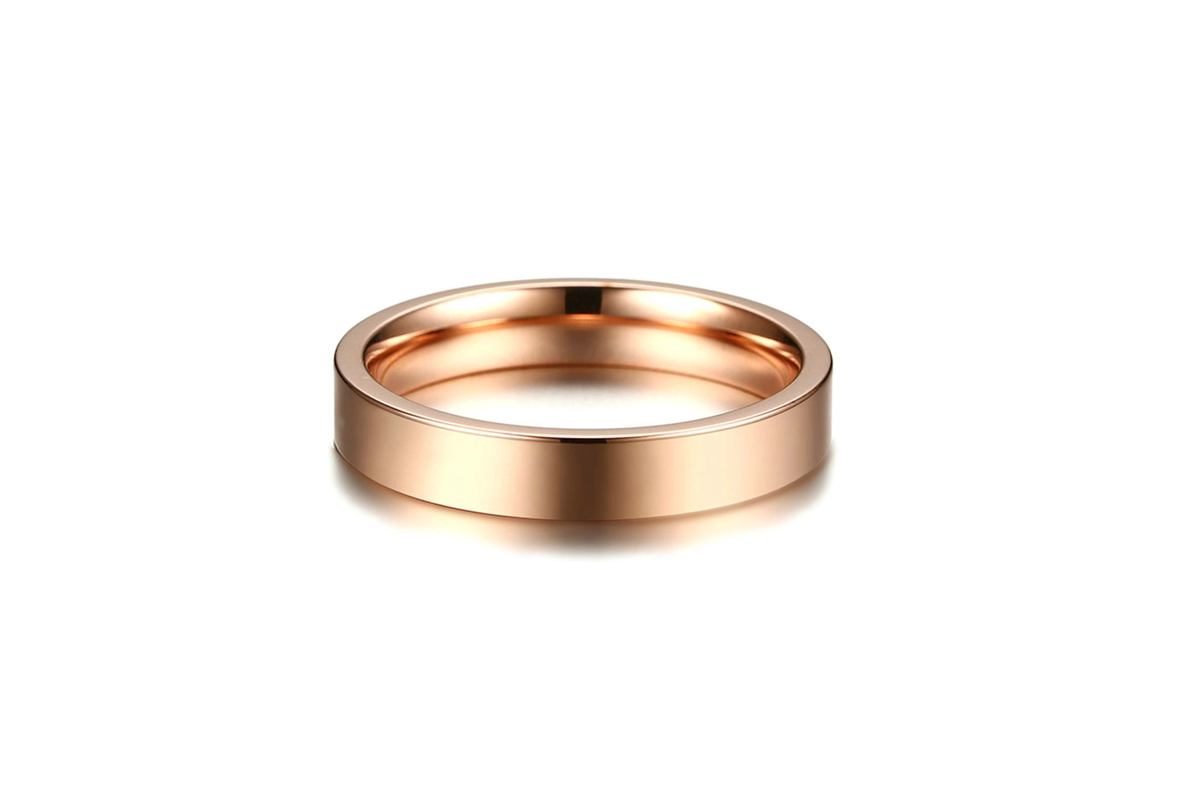 Beydodo Womens Rings, Stainless Steel Classic Ring 4MM Wedding Band for Brides Rose Gold Size 6