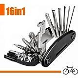 iNeith 16in1 自転車修理セット 携帯マルチツール バイク修理キット 6角レンチ メンテナンス用 折畳み 多機能工具セット