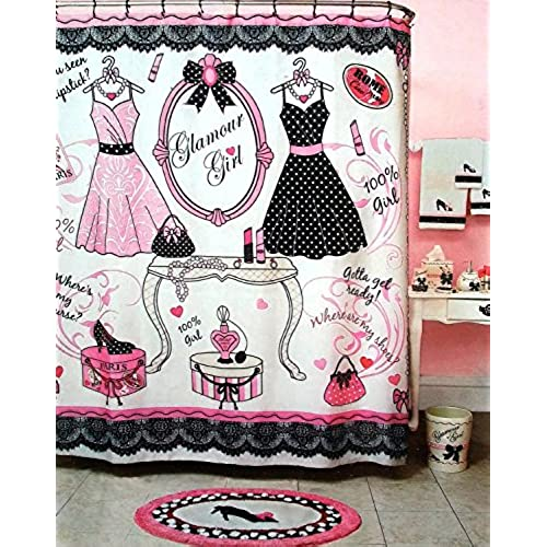 glamour girl pink black white shower curtain 70 x 72