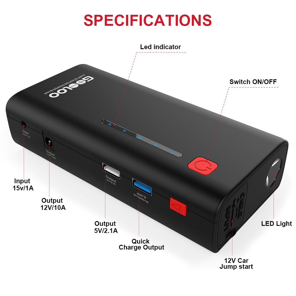 GOOLOO 800A Peak 18000mAh SuperSafe Car Jump Starter with USB Quick Charge 3.0 (Up to 7.0L Gas or 5.5L Diesel Engine), 12V Portable Power Pack Auto Battery Booster Phone Charger Built-in LED Light