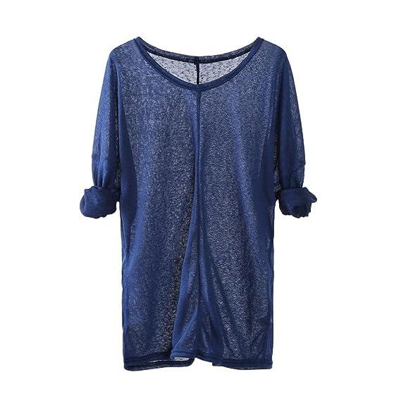 Camisa de Puntos Mujer, Suéteres Que Tejer de Las Mujeres de Manga Larga con Cuello
