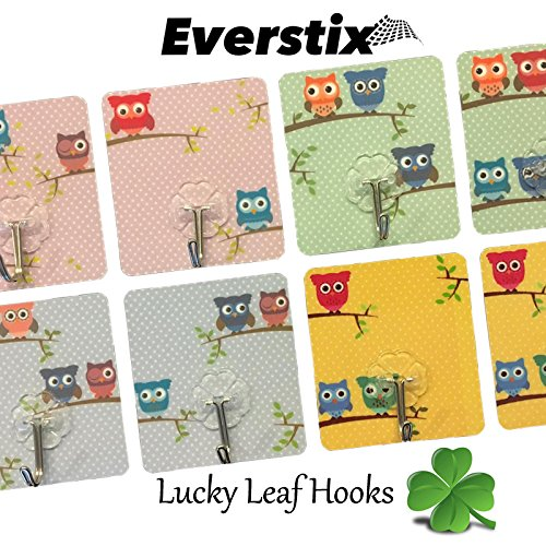 Adhesive hooks-EVERSTIX Designer hooks, 8 pack wall hooks, 13.2lb/6kg Transparent Super Heavy Duty No Scratch, Nail free, Waterproof, Oilproof, for Bathroom, Kitchen, Summer / Winter Clothing & more