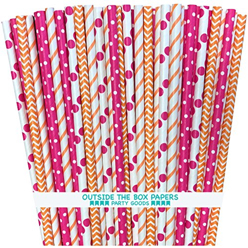 Outside the Box Papers Orange and Pink Chevron, Polka Dot and Stripe Paper Straws 7.75 Inches 100 Pack Orange, Hot Pink, White