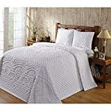 3 Piece White Oversized Chenille Bedspread King, Drapes Over Edge Drops Down To the Floor Oversize Coastal Geometric Extra Long Wide Bedding, Medallion Casual Solid Color Vintage Warm Rustic, Cotton