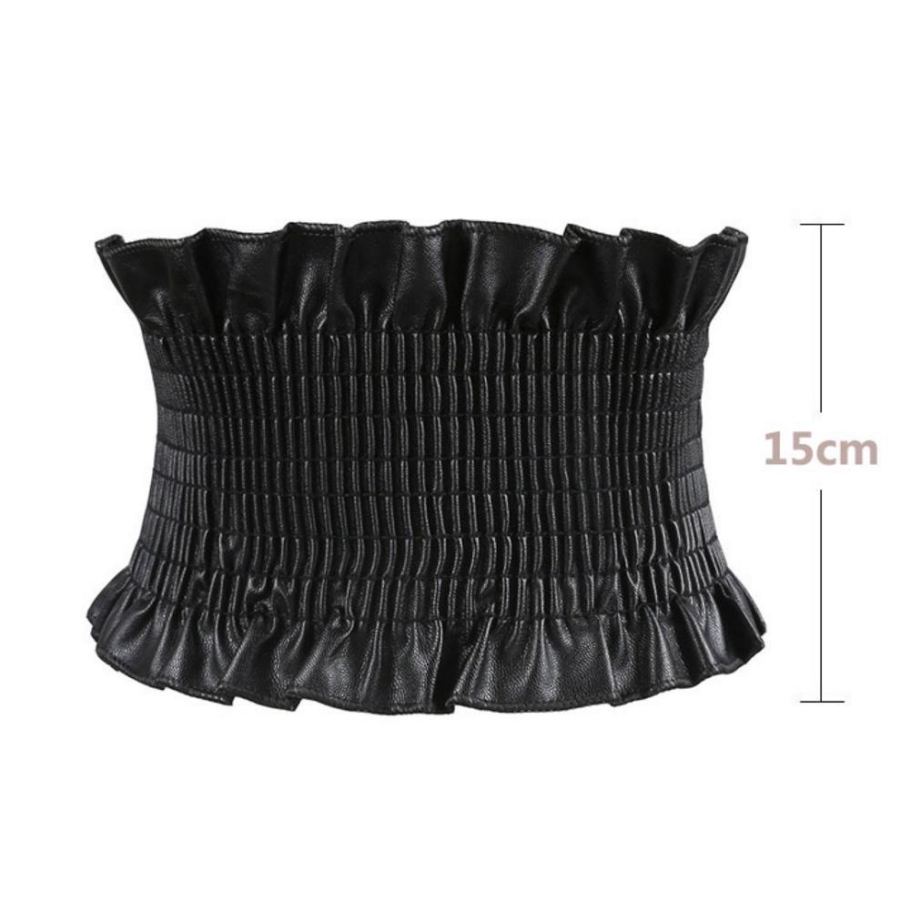 KKYLOVEJ Mujer 6 Inch Amplio Botón Doble Estirar Cinturón Elástico , black